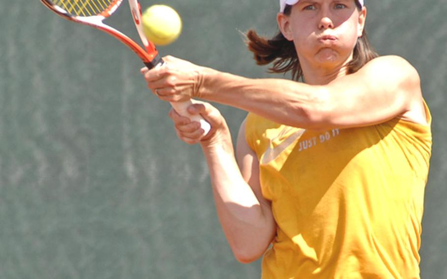 Maya Pardee defended her women's open title at the 2010 U.S. Forces Europe Tennis championships with a 6-4, 6-4 win over Cheryl Riise in Heidelberg, Germany, on Sunday.  (Note to editors: Riise is spelled correctly)