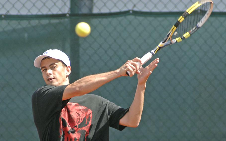 Jorge Sepulveda returns a shot in his 3-6, 4-6 loss to Terry Johnson in the men's open final at the U.S. Forces Europe tennis championships in Heidelberg, Germany, on Sunday.