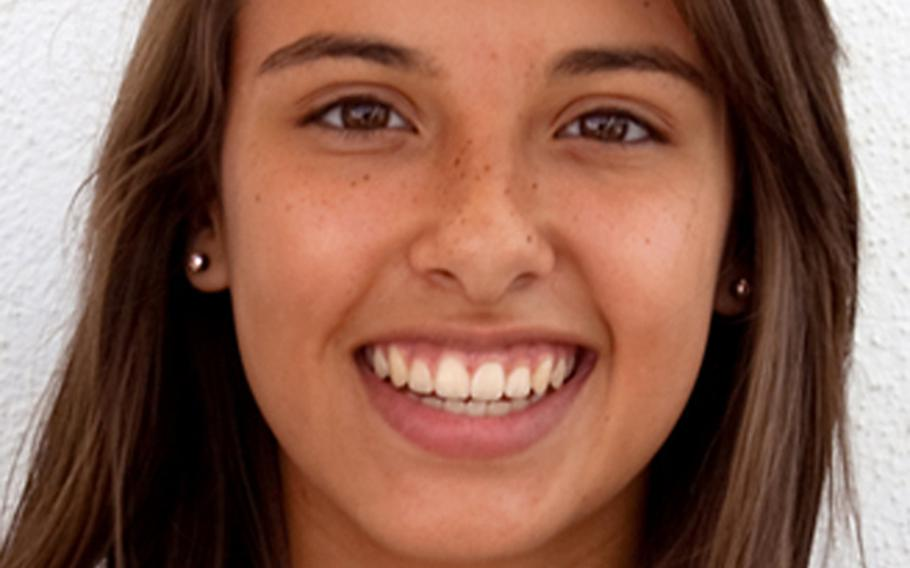 """Aspen Luna, Rota. The freshman outside hitter shinted in D-III tourney, 80-percent service rate with 54 percent of those aces; """"best player in all the years ... that I have coached,'' according to her coach."""