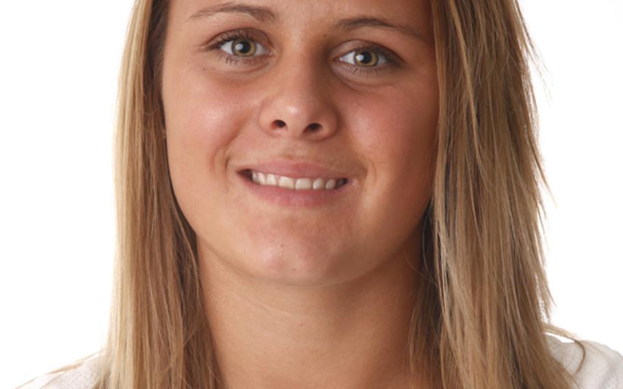 Anna Muzzy, Vilseck. The senior outside hitter/middle blocker averaged 5.1 kills per game; Stars and Stripes player of year.