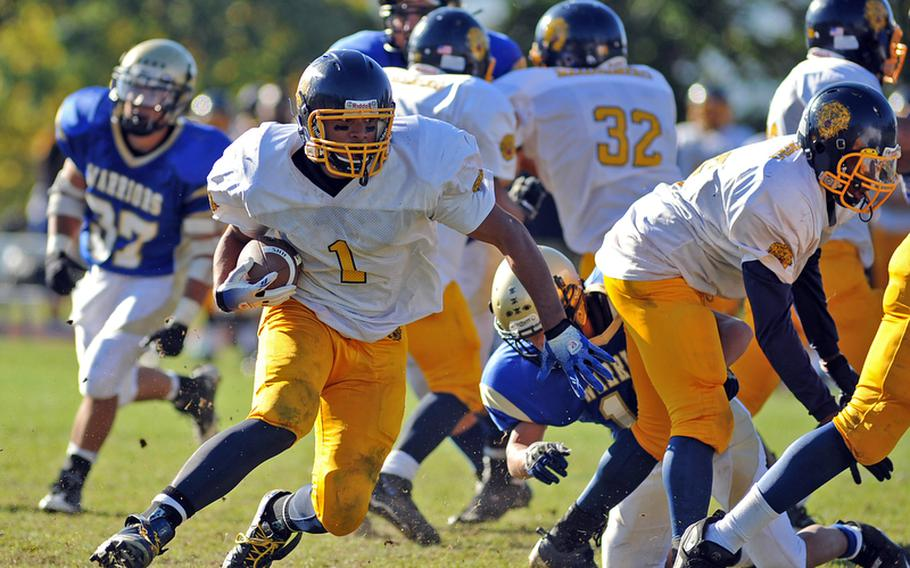 Heidelberg' Chris Cuthbert looks for a hole in the Wiesbaden defense in a game against the Warriors on Oct. 9. Cuthbert was one of ten Lions to be named to the 2010 DODDS All-Europe football squad.