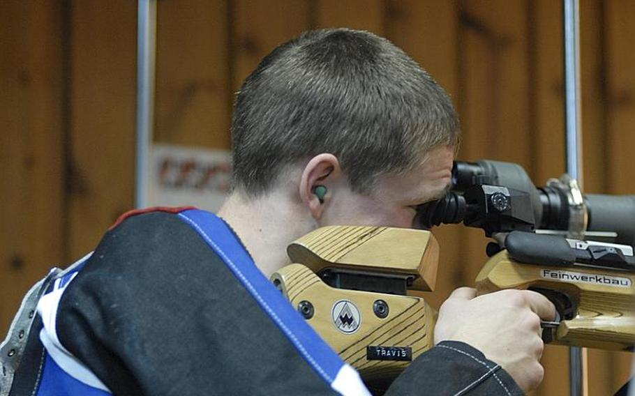 Mannheim sophomore Zeb Graves takes aim at the targets  at Saturday's high school marksmanship match at Heidelberg High School. Mannheim placed third in the three-team competition; a fourth team, Baumholder, was unable to attend and will shoot at home and send in its scores later.