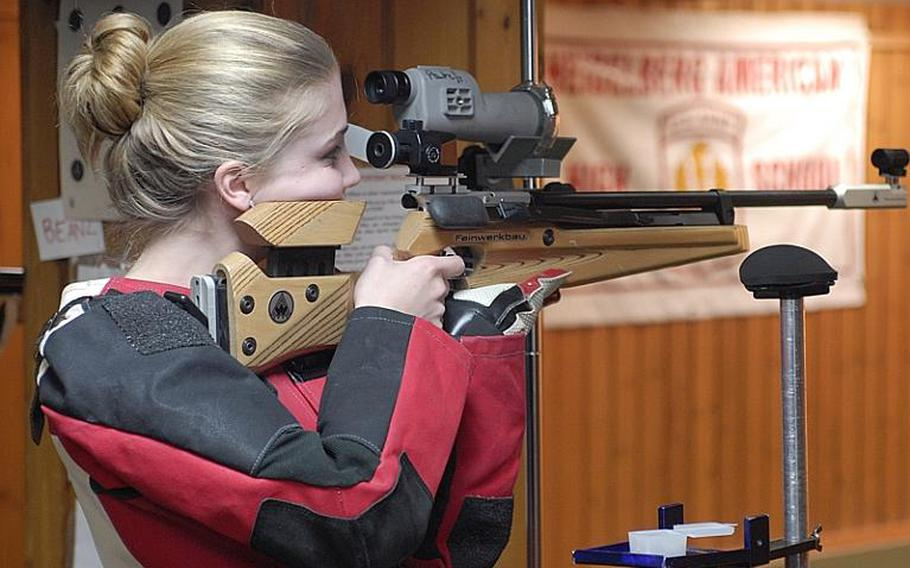 Patch junior Mercedes Romih finished fifth in individual scoring and her team finished first at Saturday's high school marksmanship match at Heidelberg High School.