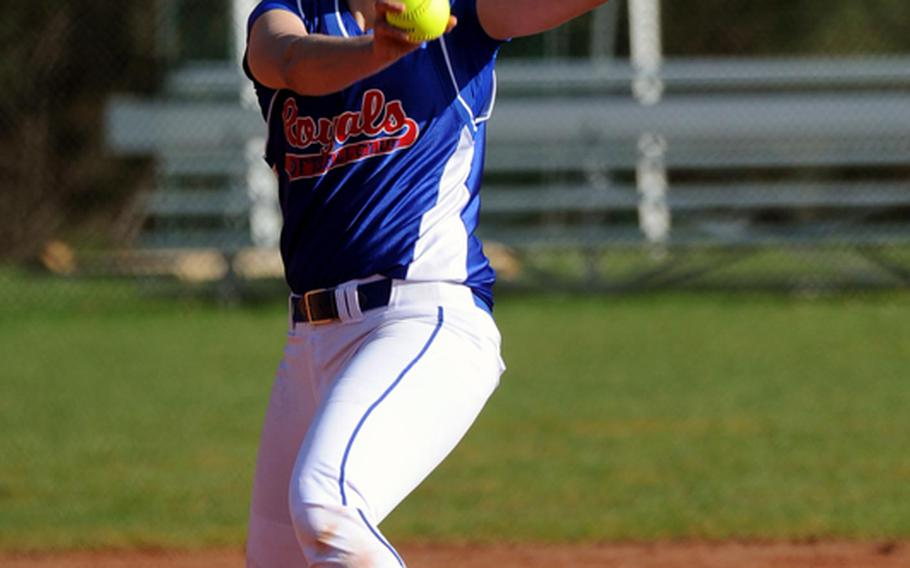 Ramstein's Kelsey Freeman pitched a no-hitter in her team's 11-0 win over Kaiserslautern in the first game of a doubleheader in Ramstein on Saturday. Ramstein finished off  the sweep in the nightcap with a 20-7 win.