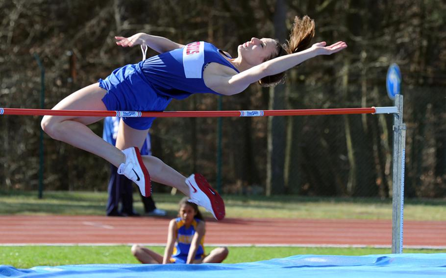 Ramstein's Tara Lookabough won the girls high jump in the track-and-field meet at Ramstein on Saturday with a leap of 5-05. Complete results of the meet were not available Saturday evening.