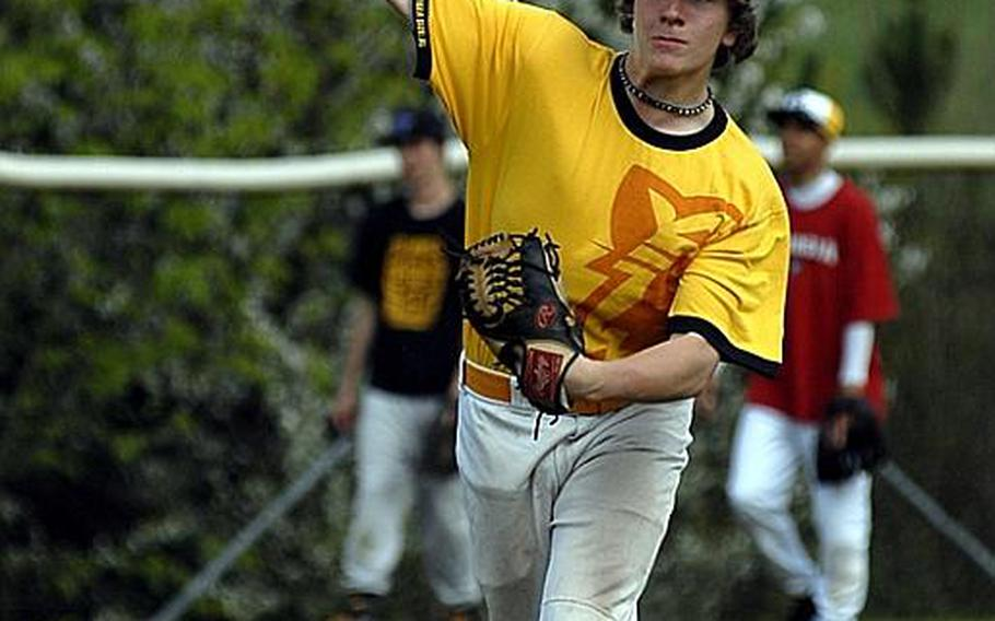 Patch junior Dylan Measells, who has surrendered just one hit in two outings this season, gets loose Tuesday at a practice session at Stuttgart's Robinson Barracks.