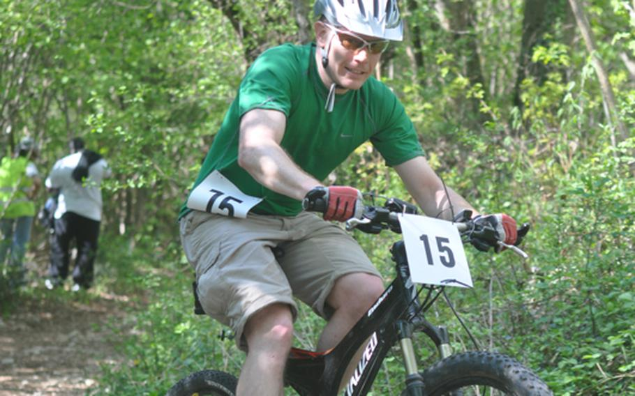Jeremiah Reed of Aviano finished second overall Saturday in the first leg of the U.S. Forces in Europe mountain bike series on a course near Aviano Air Base with a time of 1 hour, 47 minutes and 41 seconds.