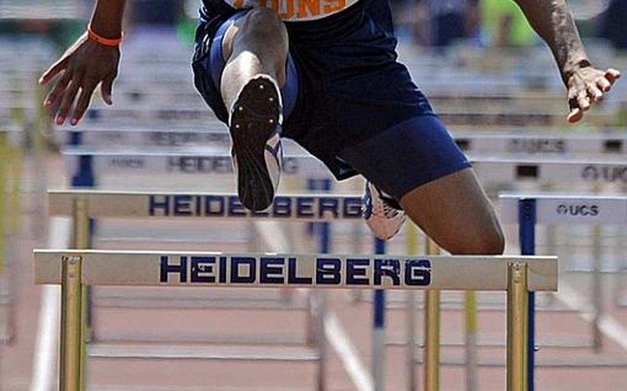Heidelberg's Aaron Tribble-Knowles clears the final hurdle on his way to wining the 110-meter event with a time of 16.61 seconds.