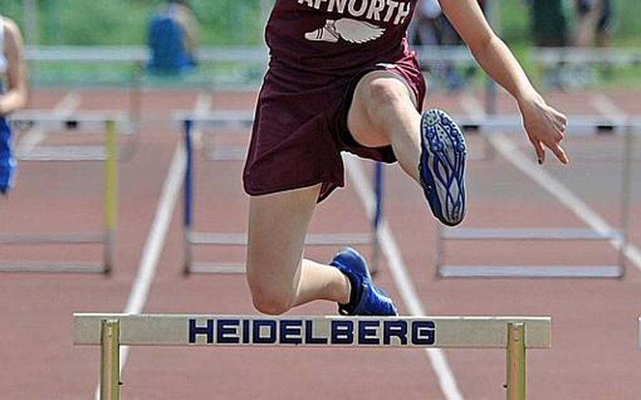AFNORTH's Ashley Hughes won the girls 300-meter hurdle event in Heidelberg on Saturday with a time of 51.74 seconds.