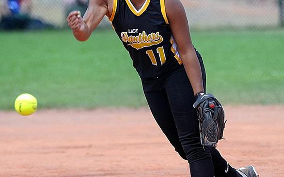 Patch's Bianca Lopez was the winning pitcher in the Division I title game against Ramstein on May 28 and has been chosen as Stars and Stripes' softball player of the year in Europe.