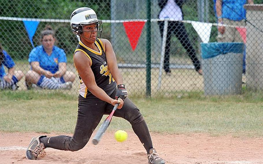 Patch's Bianca Lopez gets a hit in the Division I title game against Ramstein on May 28. Lopez has been selected Stars and Stripes' softball player of the year.