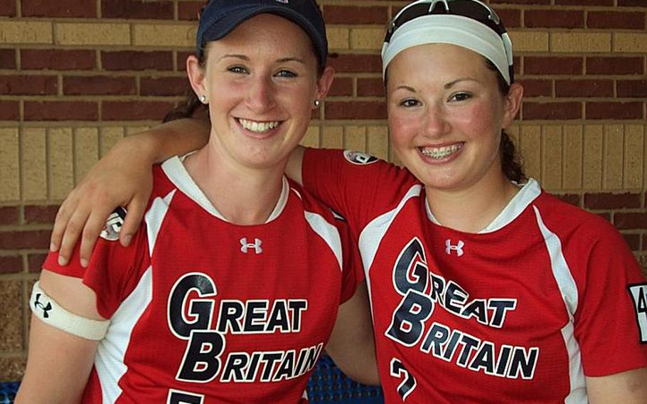 Lakenheath High School grads Morgan, left, and Ali Parkerson share the sisterly joy of being world-class players during last month's World Cup of Softball in Oklahoma City.