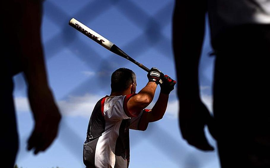 Jason Perran, playing for Aviano, prepares for the pitch during the U.S. Forces Europe men's softball championship game.