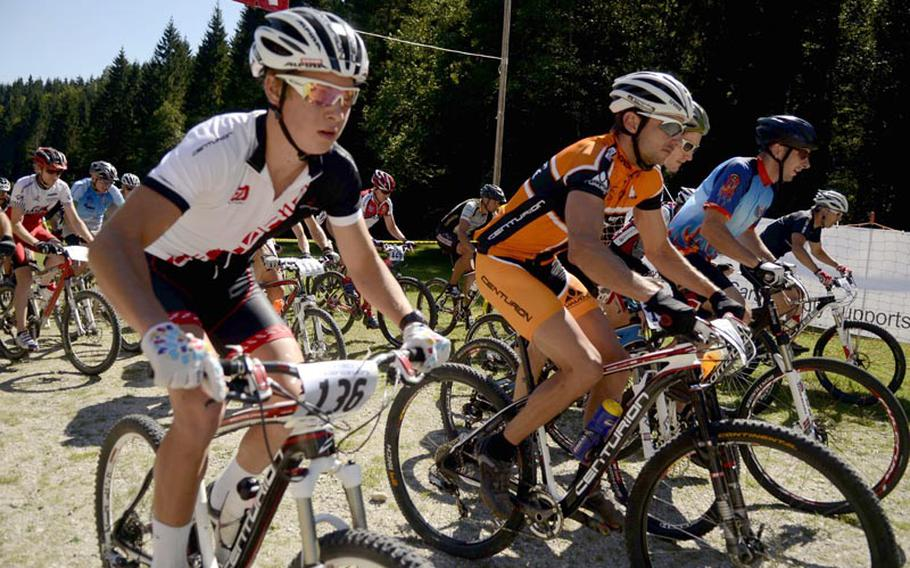 Racers jockey for position Saturday at the start of the Fat Tire Spectacular Mountain Bike Race in Garmisch, Germany.