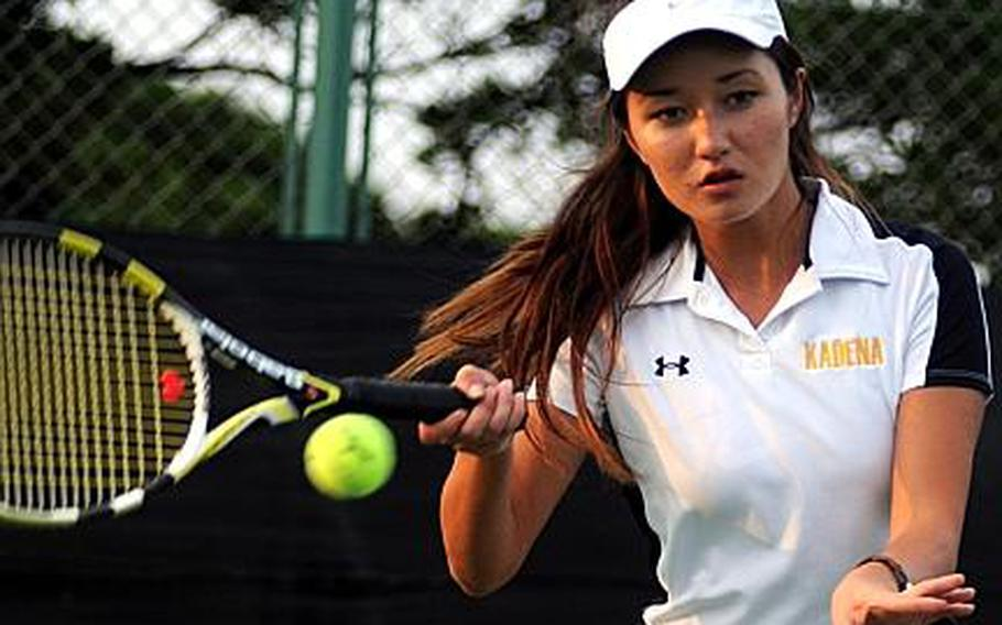 Kadena Panthers junior two-time Far East tennis tournament singles semifinalist Erika Youngdahl.