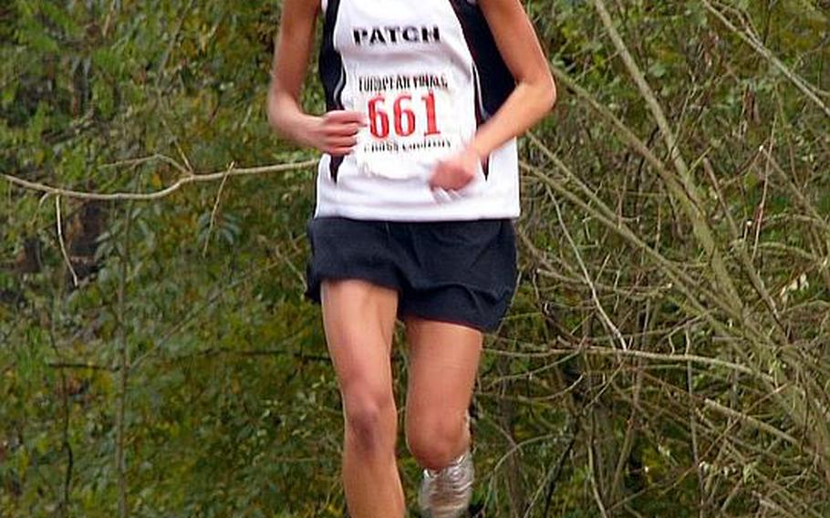 Patch's Morgan Mahlock was all alone as she headed over a small rise in the course en route to winning the DODDS-Europe cross country title last year. She will be returning for the Panthers this season.
