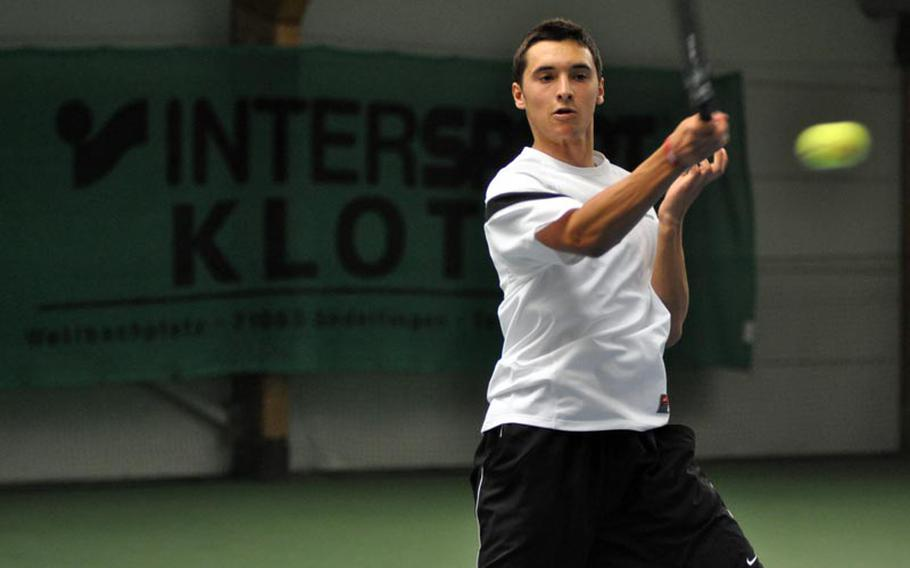 Ajdin Tahirovic returns a serve from Baumholder opponent Cameron Koch on Saturday during a match at Patch.