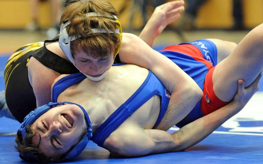 Patch's Ross Wilson, top, won the 103 pound title at last season's DODDS Europe wrestling championships, beating Ryan Goins of Ramstein. Both will be returning when the  wrestling season gets under way on Saturday.