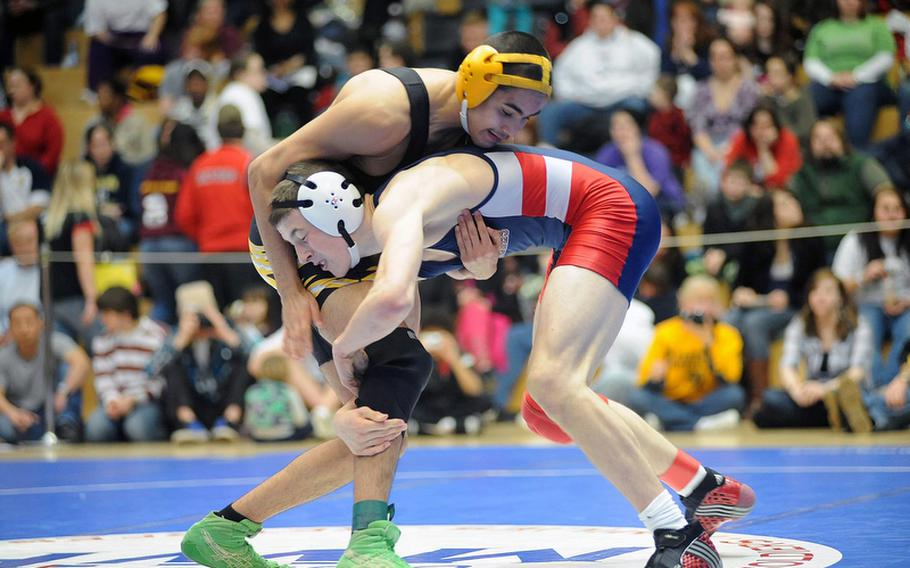Lakenheath's Austin Morrow, right, beat Patch's Thomas Trevino in the 140-pound title match last season. Both will be returning when the DODDS-Europe wrestling season gets underway on Saturday.