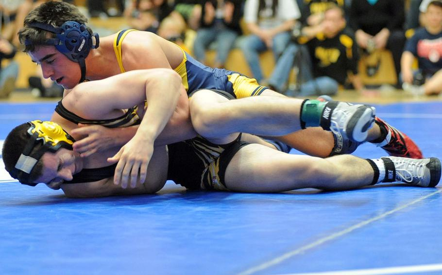 Jimmie McBride of Heidelberg, top, won the 152-pound title last season, beating Kevin Andrus of Patch. McBride will return to action for the Lions when the 2011-12 DODDS-Europe wrestling season gets under way on Saturday.