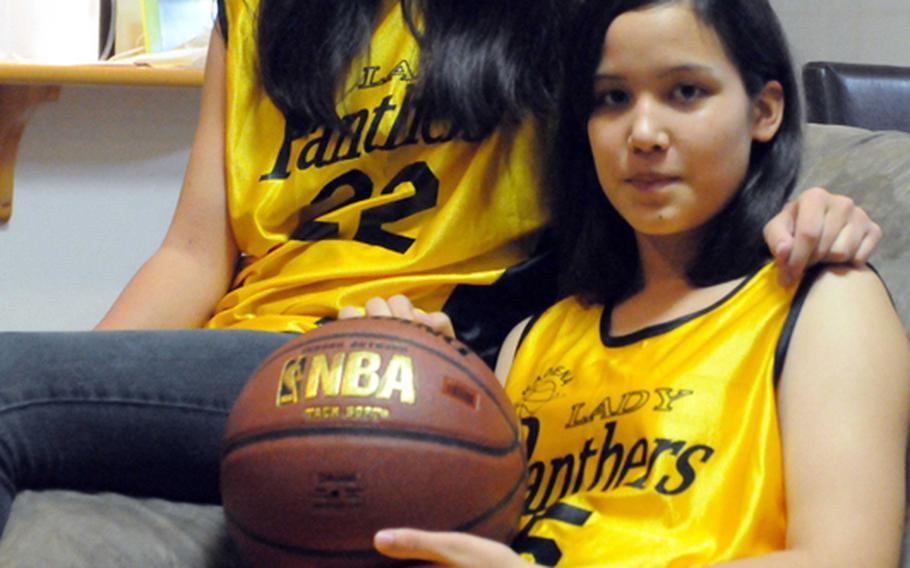 Kadena Panthers junior guard Maria Vaughan, left, and freshman guard Alicia Vaughan.