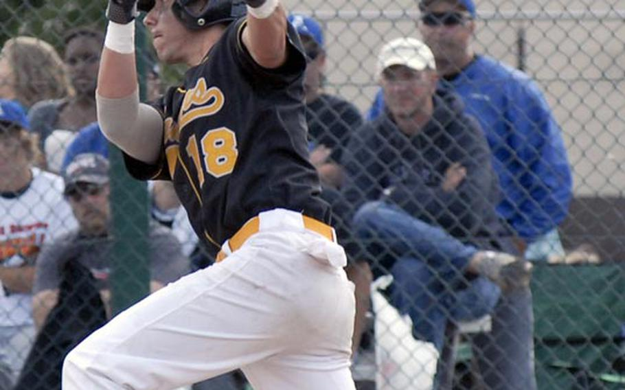 Patch senior Cavan Cohoes watches his game-winning hit head for the outfield in the Division I baseball championship game in Ramstein, Germany, in May.