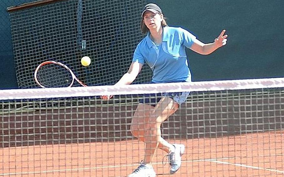 Two-time defending champion Maya Pardee hits a forehand volley during her straight-set win Saturday in Heidelberg, Germany, in the women's Open championship of the U.S. Forces Europe Tennis Championships.