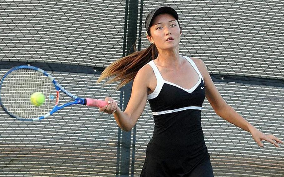 Senior Erika Youngdahl of Kadena, three-time Okinawa Activities Council singles and doubles champion.