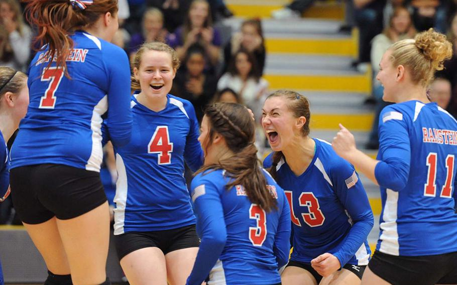 The Ramstein Royals celebrate their Division I title after defeating Patch 25-12, 25-14, 25-19 at the DODDS-Europe volleyball championships in Ramstein, Saturday.