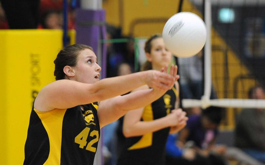 Patch's Brittany Hyde returns a ball in the Division I final at the DODDS-Europe volleyball championships in Ramstein, Saturday. The Royals beat Patch 25-12, 25-14, 25-19.