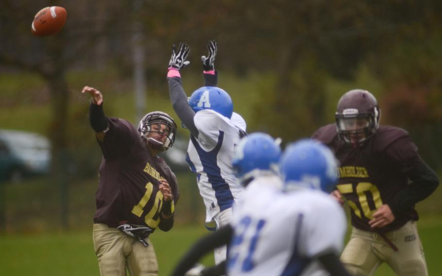 Baumholder's Ben McDaniels throws a pass in the Buccaneers' 26-0 win over the Rota Admirals in the 2012 DODDS-Europe Division III football championship Saturday afternoon in Baumholder, Germany.