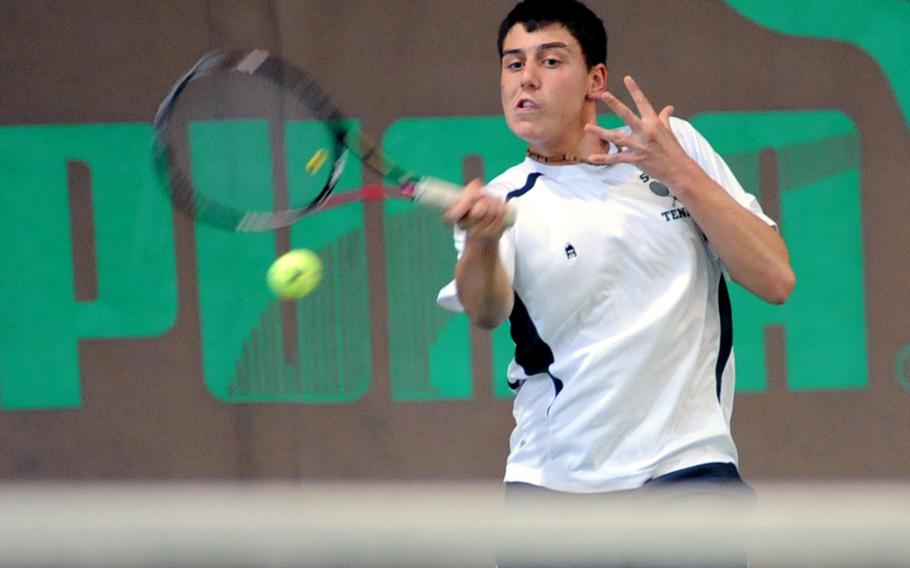 SHAPE's Dimitris Stavropoulos slams a shot across the net in the boys final at the DODDS-Europes tennis championships in October. Stavropoulos, the second seed, upset top-seeded, two-time defending champion Ajdin Tahirovic of Patch in the match, and has been chosen as the Stars and Stripes boys tennis Athlete of the Year.