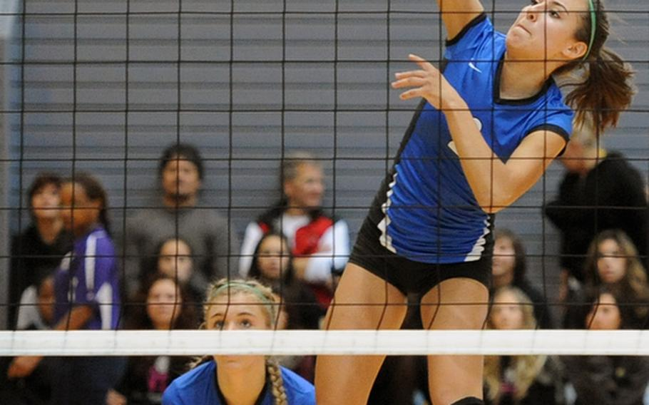 Rota's Aspen Luna slams a ball back across the net for a point in front in the Division III final at the DODDS-Europe volleyball championships on Nov. 3. Luna has been named the Stars and Stripes volleyball Athlete of the Year for the second time.