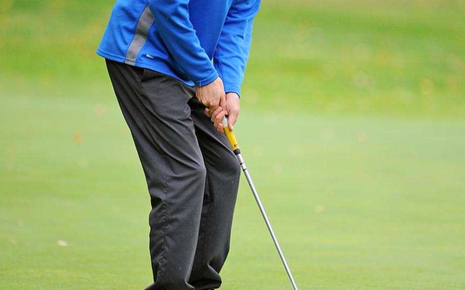 Ramstein's Evertett Plocek reacts as a putt comes up short during the final round of the 2012 DODDS-Europe golf championships in October. Plocek took the title and has been named the Stars and Stripes' boys golf Athlete of the Year.