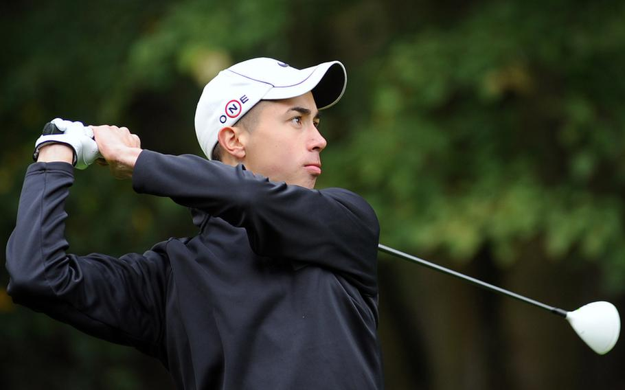 Ramstein's Evertett Plocek watches his tee shot at the 2012 DODDS-Europe golf championships in October. Plocek, who won the championship has been named the Stars and Stripes' boys golf Athlete of the Year.