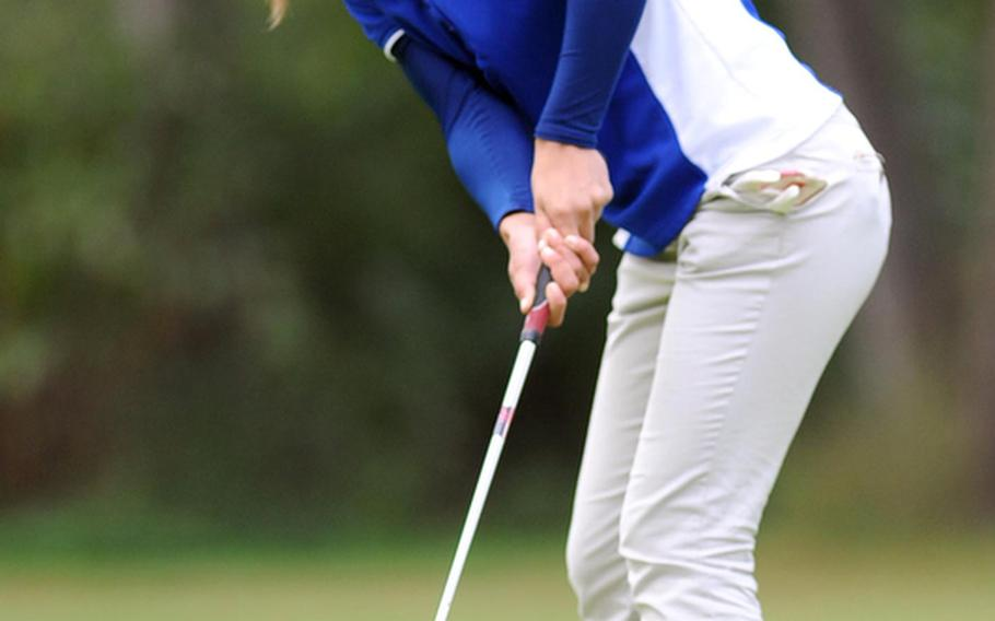 Defending champion Jenna Eidem of Wiesbadenwatches her putt roll towards the cup during first round action at the 2012 DODDS-Europe golf championships at the Heidelberg Golf Club, in October. Eidem defended her title and has been named Stars and Stripes' girls golf Athlete of the Year.