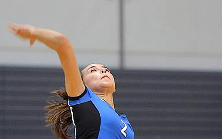 Rota's Aspen Luna  serves in last year's Division III final at the 2012 DODDS-Europe volleyball championships in Ramstein. Luna will be returning for the Admirals, but she and her teammates will be competing in Division II this season.