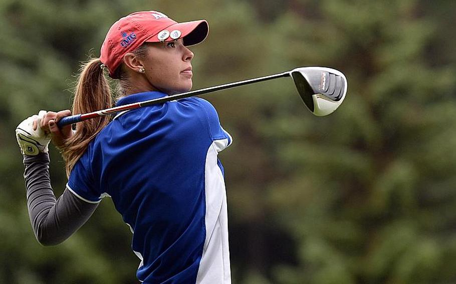 Wiesbaden's Jenna Eidem watches her tee shot on her way to winning her third straight DODDS-Europe girls golf title at Wiesbaden, Germany, Oct. 10, 2013. Eidem has been named the Stars and Stripes girls golf Athlete of the Year.