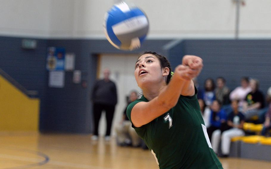 Victoria Krause of Naples in action at the DODDS-Europe volleyball championships in Ramstein, Germany, Oct. 31, 2013. The Naples senior has been named the Stars and Stripes volleyball Athlete of the Year.