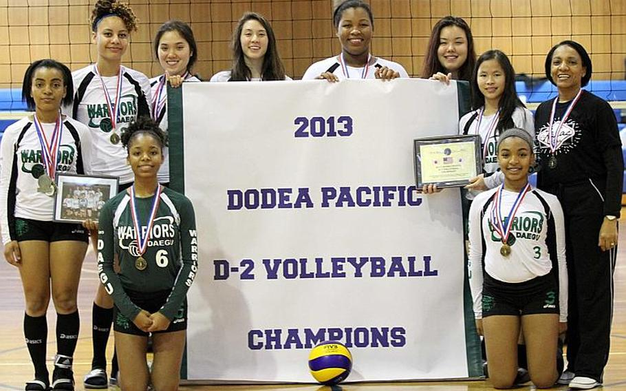 Members of Daegu girls volleyball team strike a pose with the team banner after Thursday's championship match against Zama American Trojans in the Far East High School Girls Division II Volleyball Tournament at Camp Zama, Japan. Daegu won the match 22-25, 25-13, 25-17, 25-16, its third title in five years and fourth overall, matching the DODDS record set by Zama in 1997. Clockwise from lower left are Kaylah Black, Rachel Wyche, Auburn Hood, Kaitlyn Nott, Lari Robertson, Taylor Myatt, Irene Malenky, Rose O'Houlahan, coach Joanna Wyche and Rheagan Wyche.