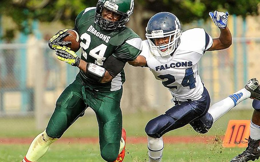 Adam Fondren/Special to Stars and Stripes  Kubasaki running back Jarrett Mitchell has been named Stars and Stripes Pacific high school football Athlete of the Year.