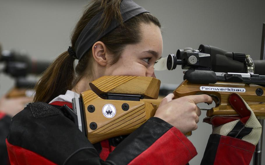 Patch's Maggie Ehmann shoots in last season's DODDS-Europe Rifle Championships January 26, 2013 at Baumholder, Germany. Ehmann achieved the highest point totals last season, and placed second overall in the championship. She will be returning for the Panthers this season.
