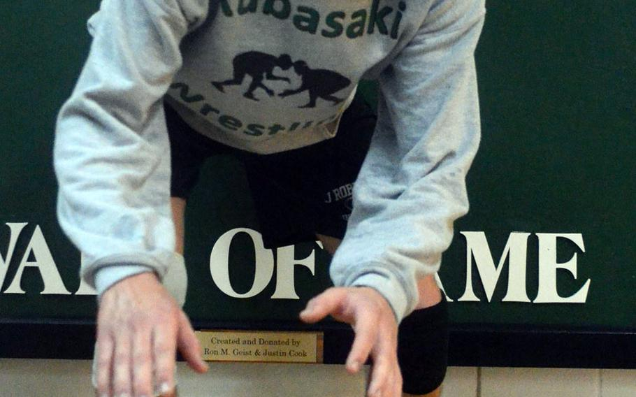 Kubasaki senior 148-pounder Austin Cyr is one of five returning Far East Wrestling Tournament champions this season.