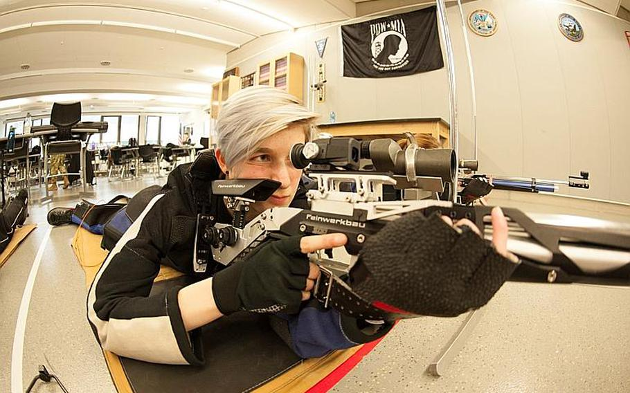 Stuttgart's Fallon Dickinson practices the form that helped her finish with the highest score at the DODEA-Europe marksmanship championships and continue the program's dominance with another title.