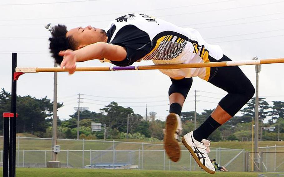 Kadena senior Donte Savoy high-jumped 6 feet, 3 inches a year ago despite painful shin splints that limited him, his coaches said. Savoy said he plans to jump at least that this year, and his coaches believe that with a pain-free season, the Pacific record of 6-7 1/2  is within reach.