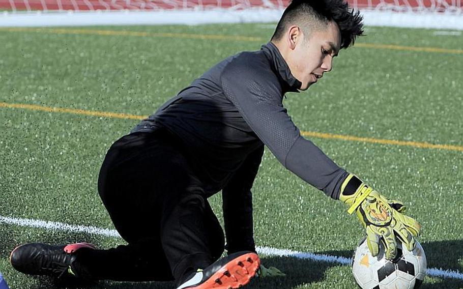 Senior Caeleb Ricafrente led the Pacific in football touchdowns with 28 last season, but now is being asked to prevent opponents from scoring as he tries playing goalkeeper for the first time for five-time Far East Division II boys soccer champion Matthew C. Perry.