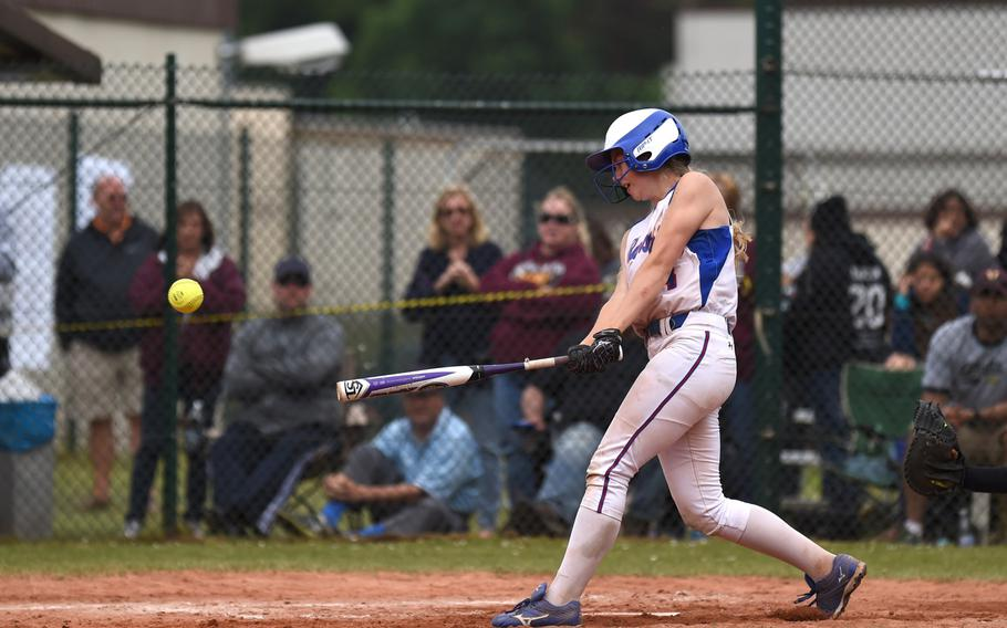 Ramstein's Sierra Nelson singles to left field in a game against Vilseck. Nelson will be back for the Royals this season.