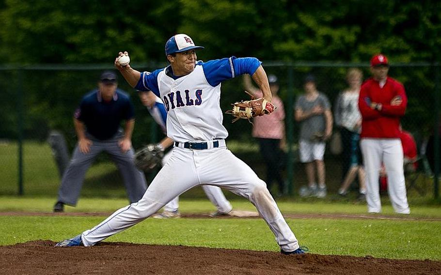 Ramstein's Jonathon Oswald throws a pitch during the DODEA-Europe Division I baseball championship at Ramstein Air Base, Germany, on Saturday, May 28, 2016. Ramstein defeated Kaiserslautern 3-0 to win the title.
