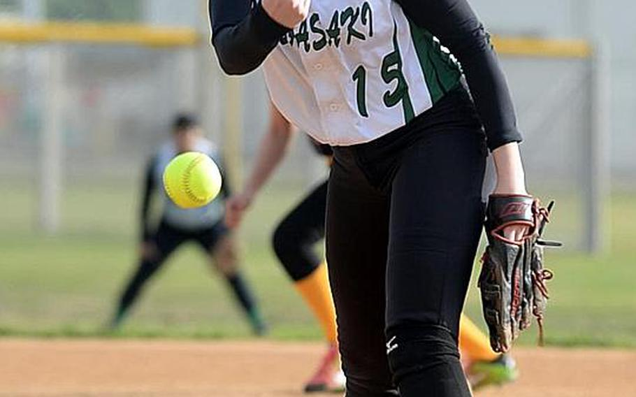 Senior Reaven East is one of two seasoned pitching veterans for a Kubasaki Dragons girls softball team seeking its first Far East Division I tournament title.