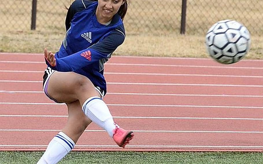 Junior striker Regina Dukat is one of three primary weapons for Yokota, each juniors, with a combined 37 goals and 22 assists this season for the two-time defending Far East Division II Tournament champion Panthers.
